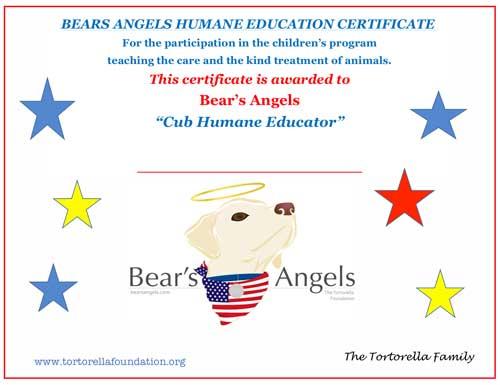 Bear's Angels Humane Education Program Certificate